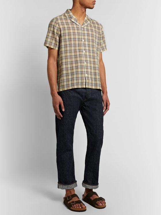 Folk Camp-Collar Checked Cotton Shirt