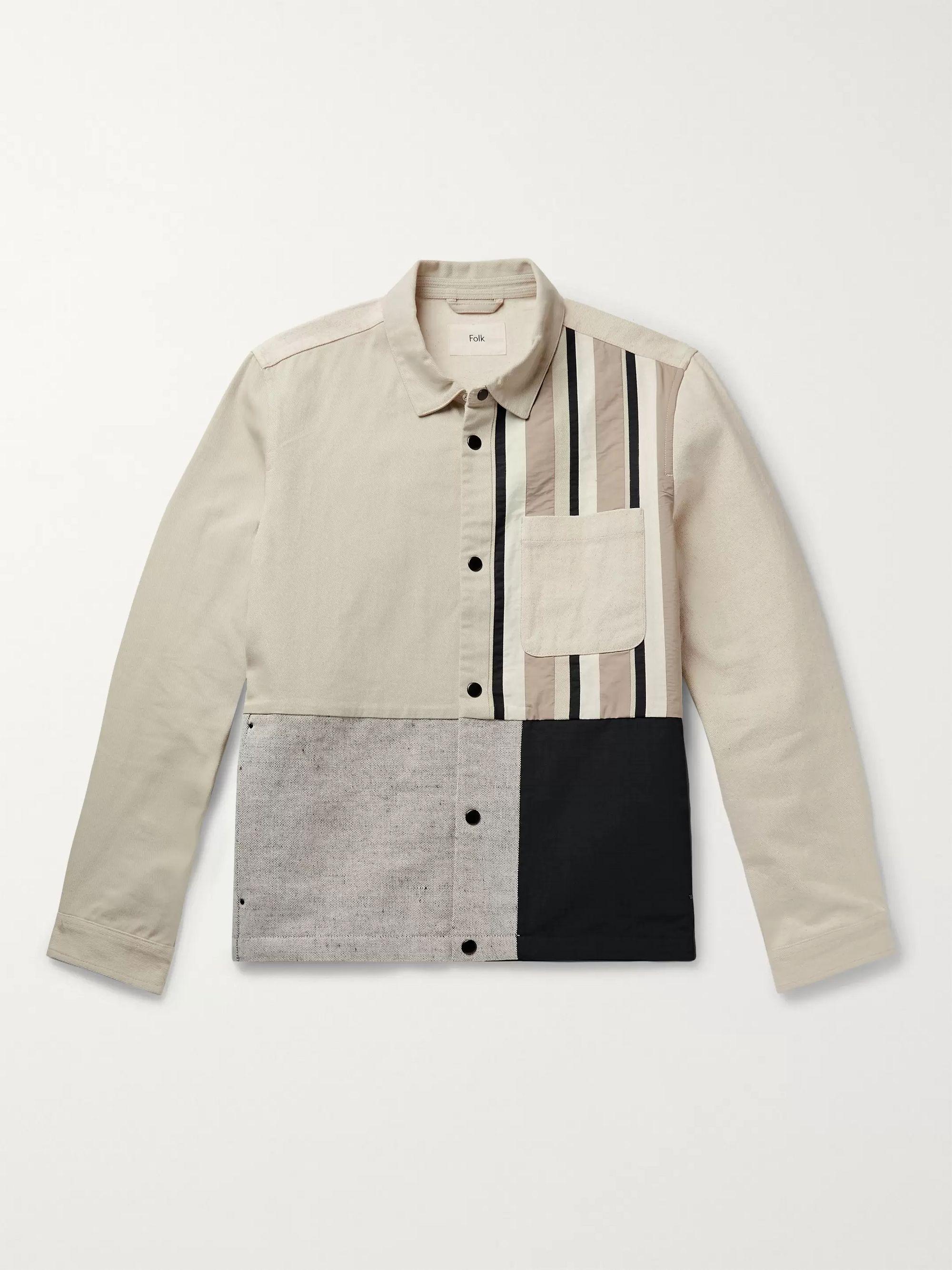 Folk Gray Panelled Cotton-Blend Jacket,Gray