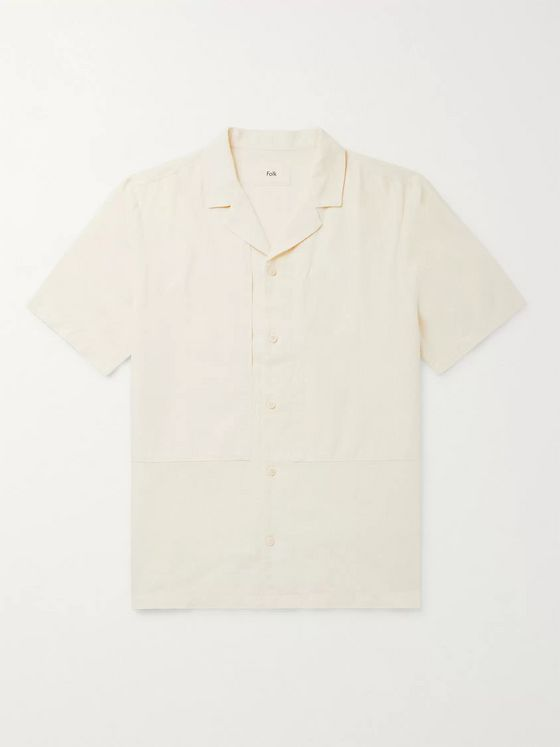 Folk Overlay Camp-Collar Garment-Dyed Slub Linen and Cotton-Blend Shirt