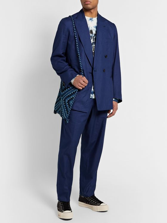 Blue Blue Japan Tapered Pleated Cotton-Twill Suit Trousers
