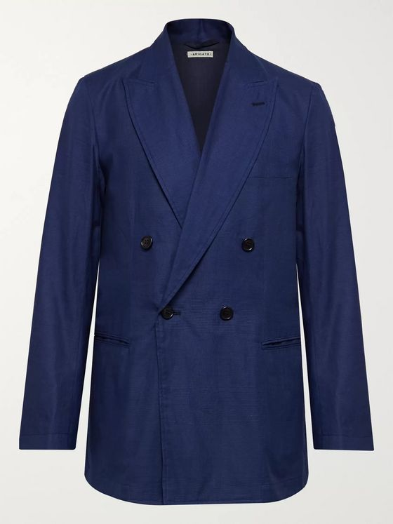 Blue Blue Japan Double-Breasted Cotton-Twill Suit Jacket
