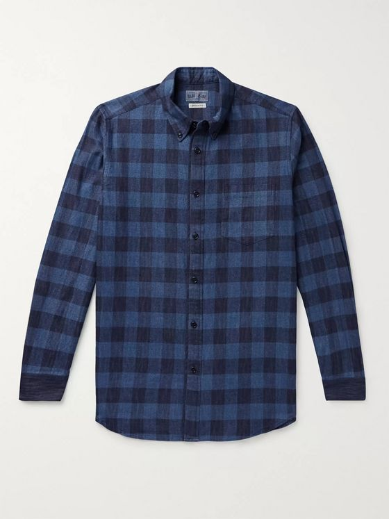Blue Blue Japan Button-Down Collar Checked Cotton-Flannel Shirt