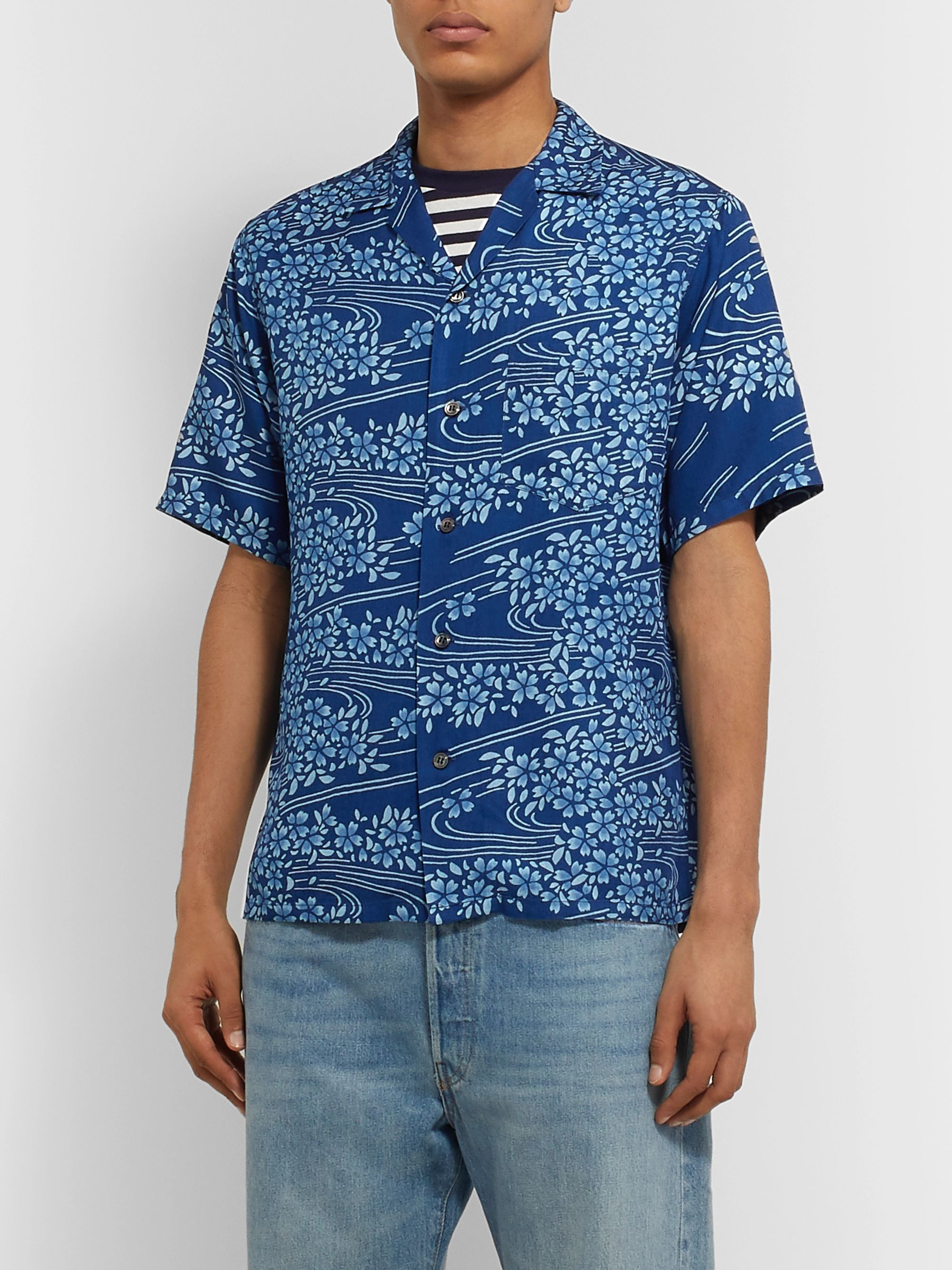 Blue Blue Japan Camp-Collar Printed Woven Shirt