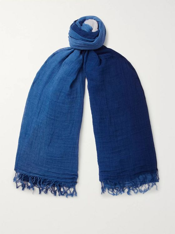 Blue Blue Japan Degradé Indigo-Dyed Cotton and Linen-Blend Gauze Scarf