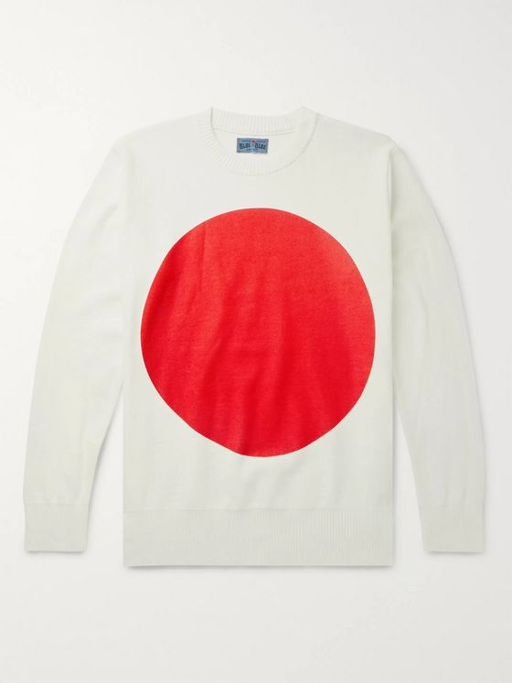 Blue Blue Japan Logo-Print Cotton Sweater