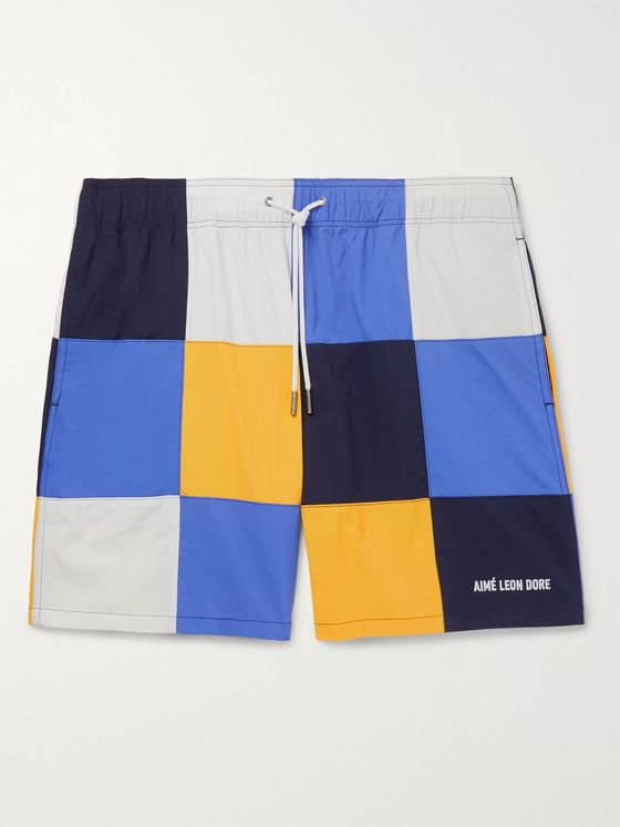 Aimé Leon Dore Logo-Embroidered Checked Nylon Drawstring Shorts