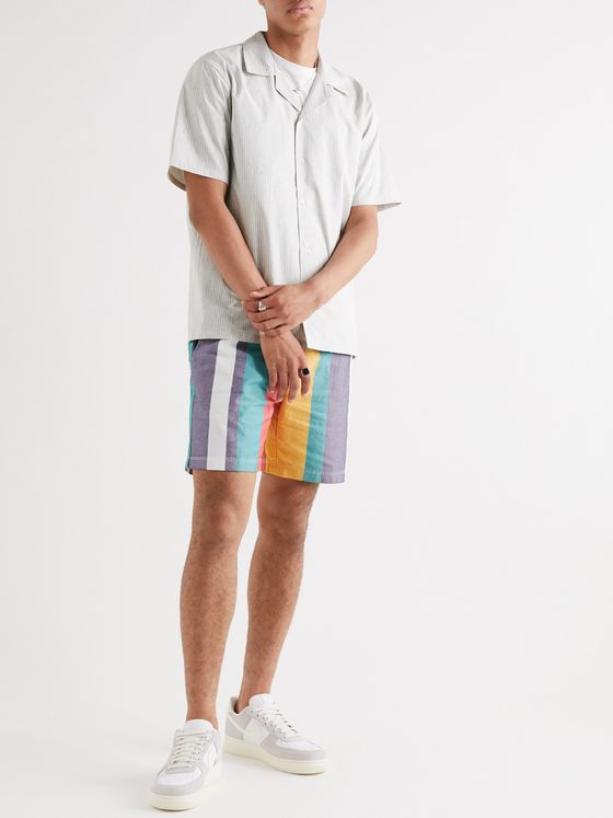 Aimé Leon Dore Striped Cotton Oxford Drawstring Shorts