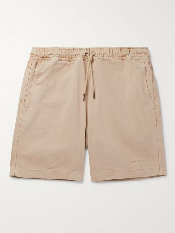 Aimé Leon Dore Garment-Dyed Logo-Embroidered Cotton-Twill Drawstring Shorts