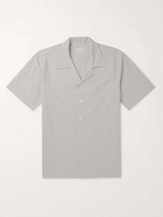 Aimé Leon Dore Camp-Collar Striped Speckled Cotton-Poplin Shirt