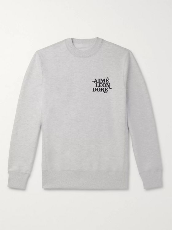 Aimé Leon Dore Logo-Flocked Loopback Cotton-Jersey Sweatshirt