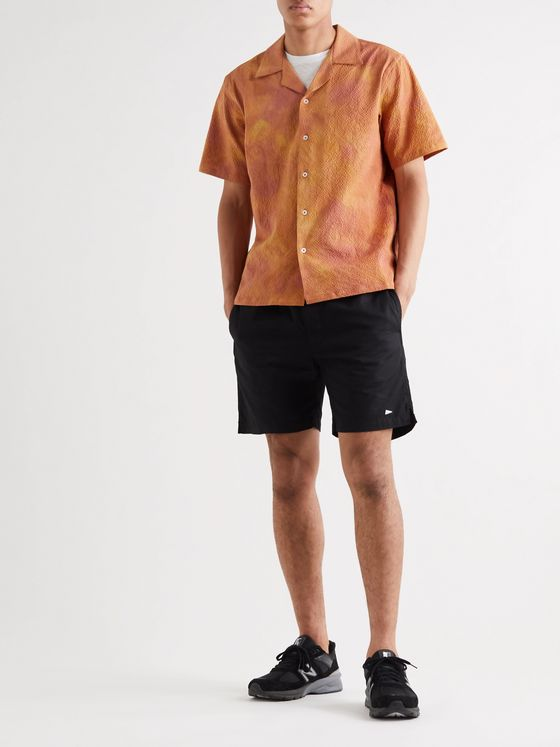Aimé Leon Dore Camp-Collar Tie-Dyed Textured Cotton-Blend Shirt