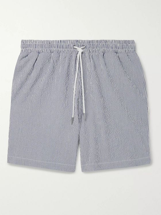 Aimé Leon Dore Striped Cotton-Blend Seersucker Drawstring Shorts