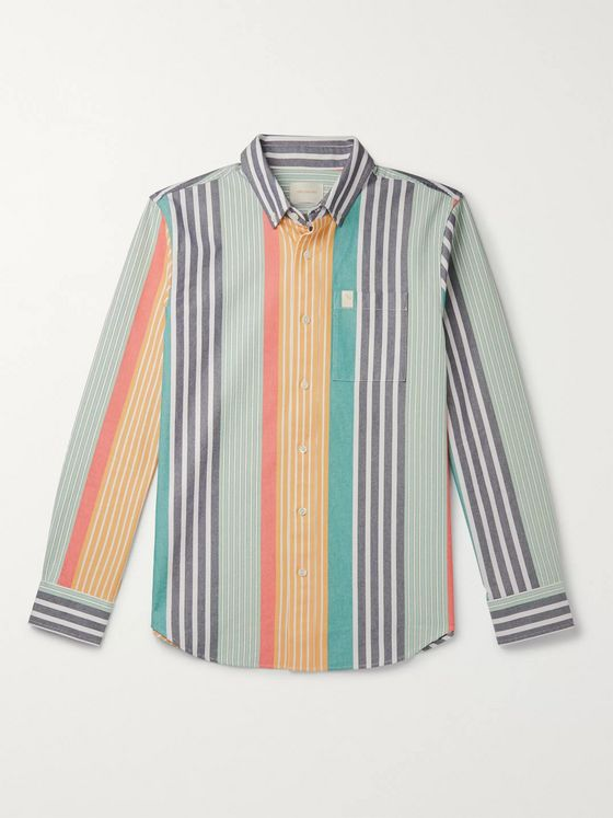 Aimé Leon Dore Button-Down Collar Striped Cotton Oxford Shirt