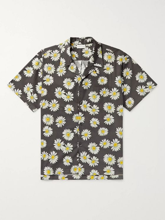 John Elliott Camp-Collar Floral-Print Cotton Shirt