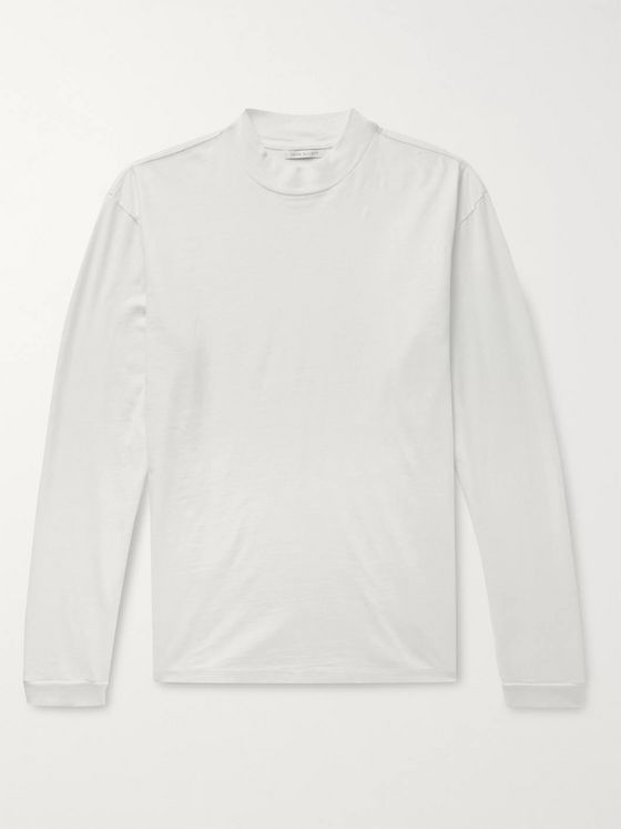 John Elliott Mock-Neck Slub Cotton-Jersey T-Shirt