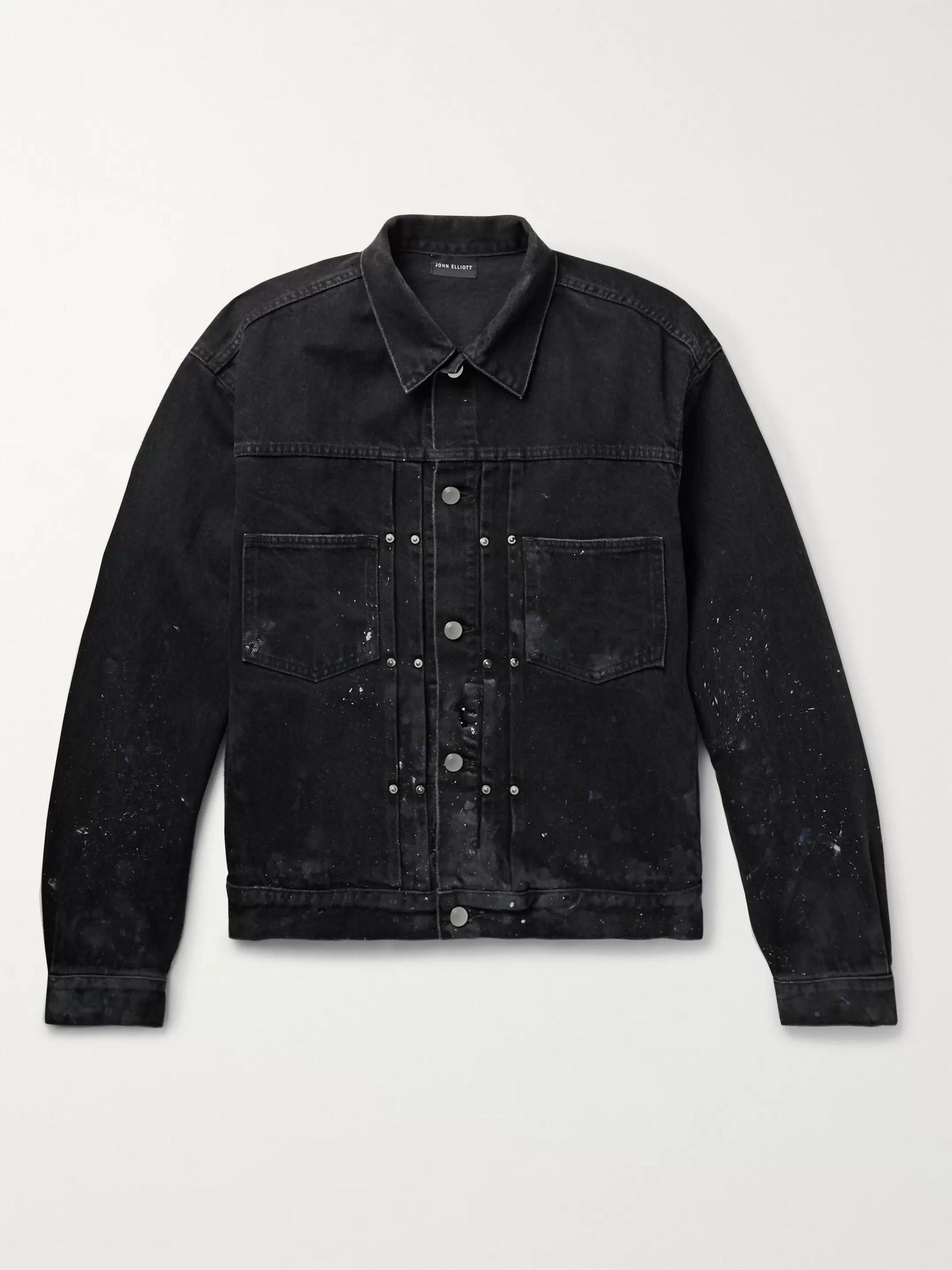 John Elliott Thumper Slim-Fit Paint-Splattered Distressed Denim Jacket