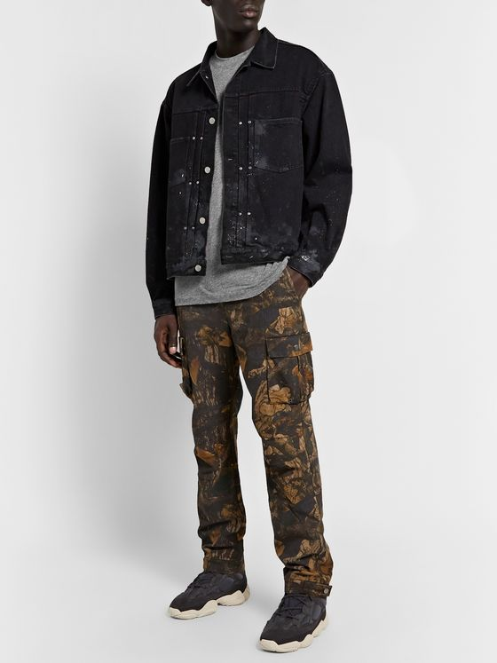 John Elliott Thumper Slim-Fit Paint-Splattered Distressed Denim Jacket