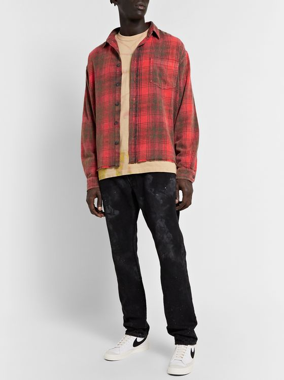 John Elliott Distressed Checked Cotton-Flannel Shirt
