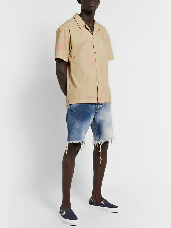 John Elliott Kane 2 Distressed Washed Denim Shorts