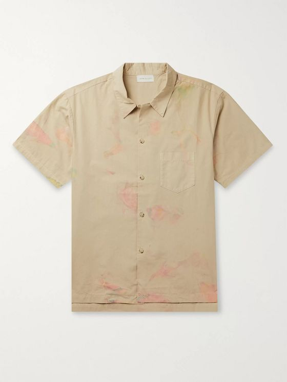 John Elliott Camp-Collar Tie-Dyed Cotton Shirt