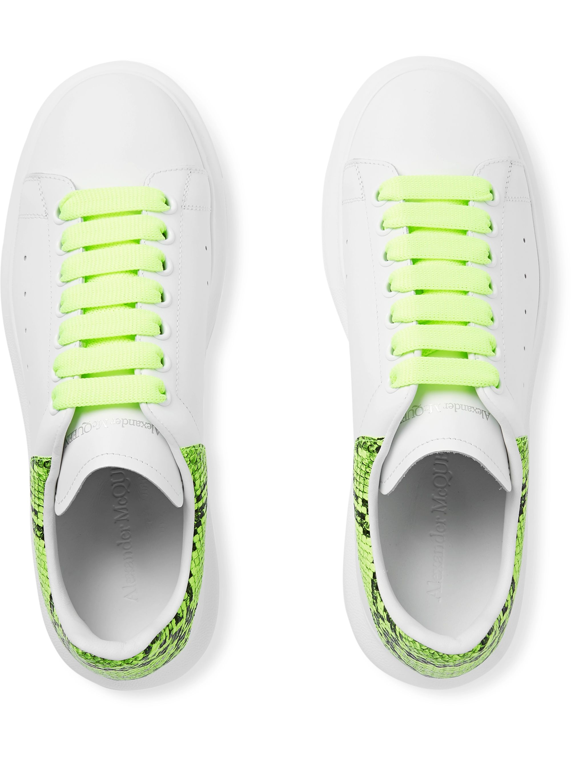Alexander McQueen Exaggerated-Sole Neon Snake-Effect Leather Sneakers