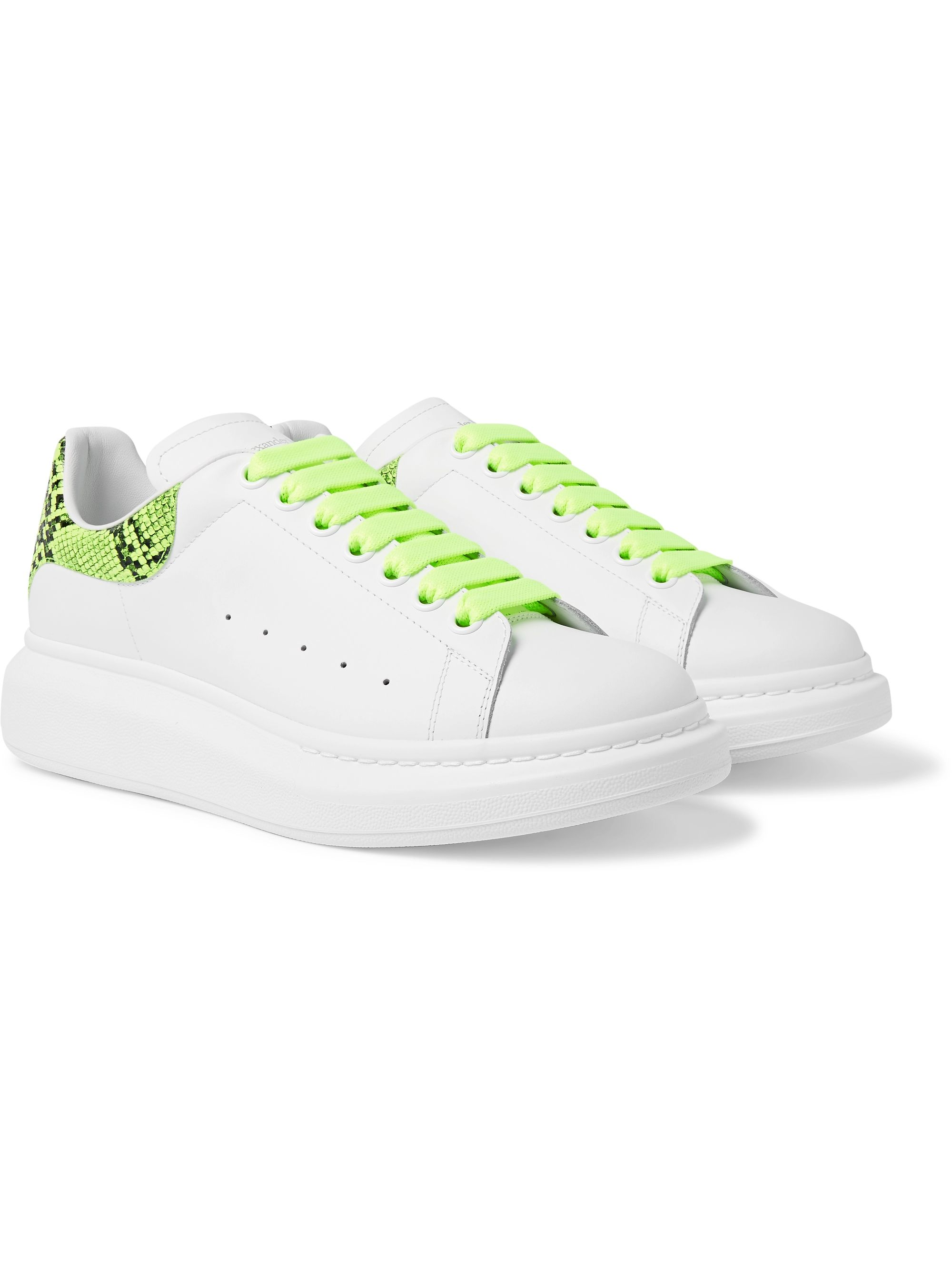 알렉산더 맥퀸 Alexander McQueen Exaggerated-Sole Neon Snake-Effect Leather Sneakers,White