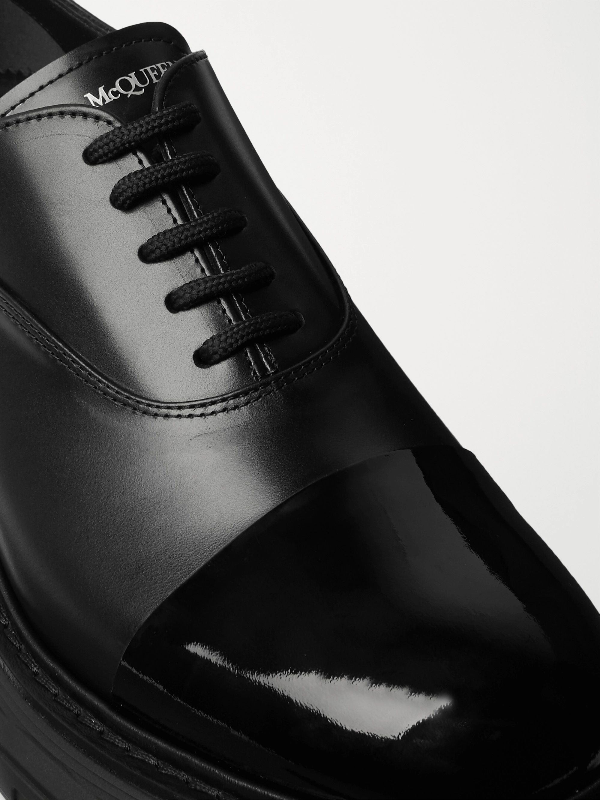 Black Cap-toe Smooth And Patent-leather Derby Shoes   Alexander Mcqueen