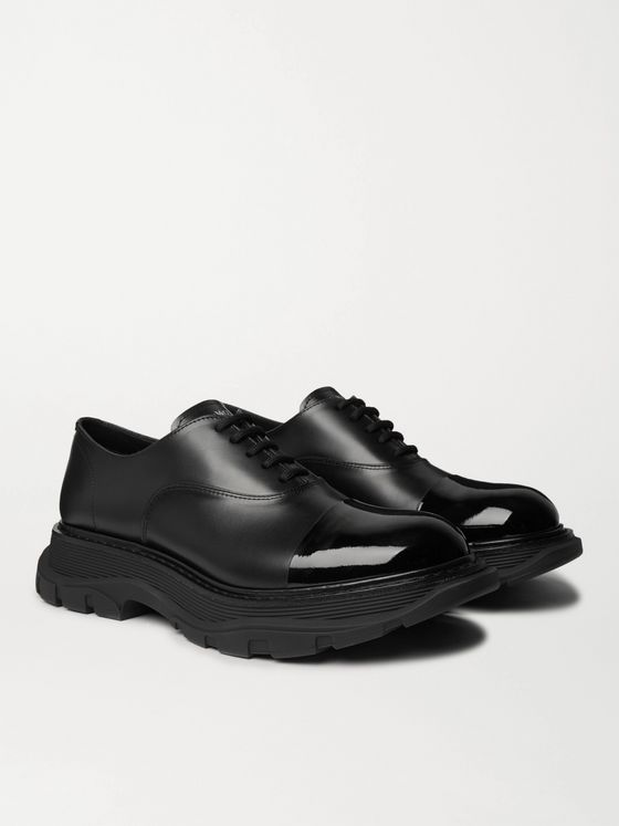 ALEXANDER MCQUEEN Cap-Toe Smooth and Patent-Leather Derby Shoes