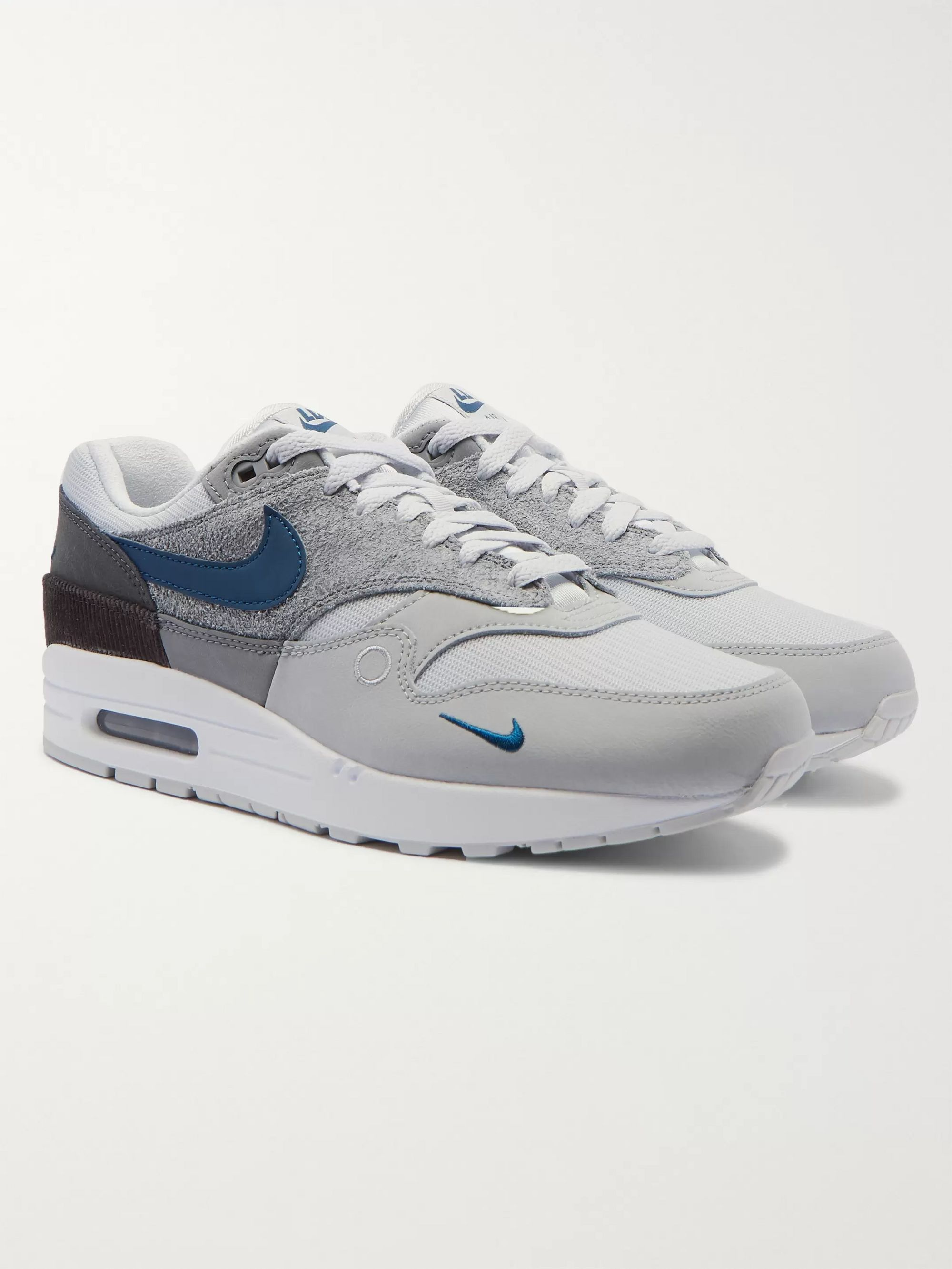 Gray Air Max 1 London Corduroy Trimmed Mesh And Suede Sneakers