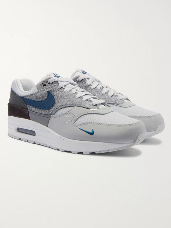 Nike Air Max 1 London Corduroy-Trimmed Mesh and Suede Sneakers