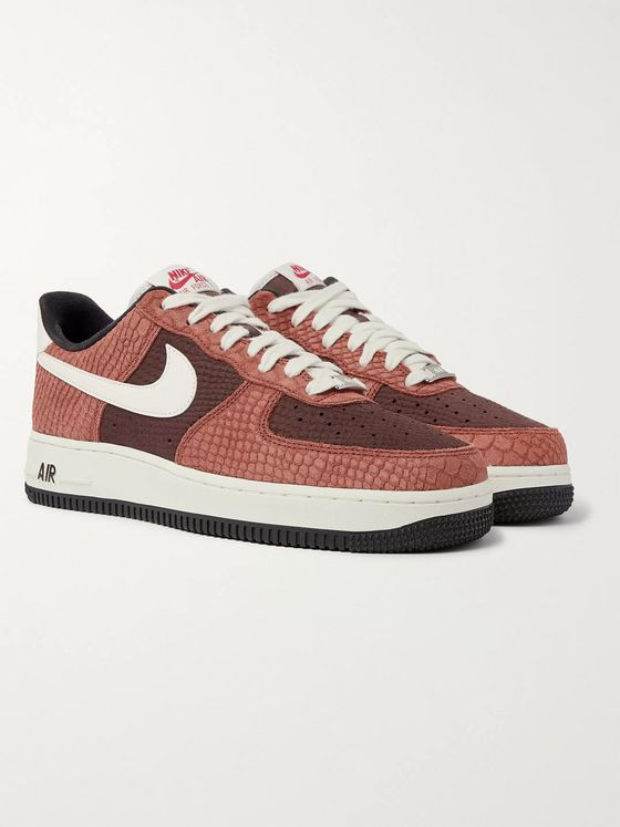 Nike Air Force 1 Premium Croc and Snake-Effect Suede Sneakers