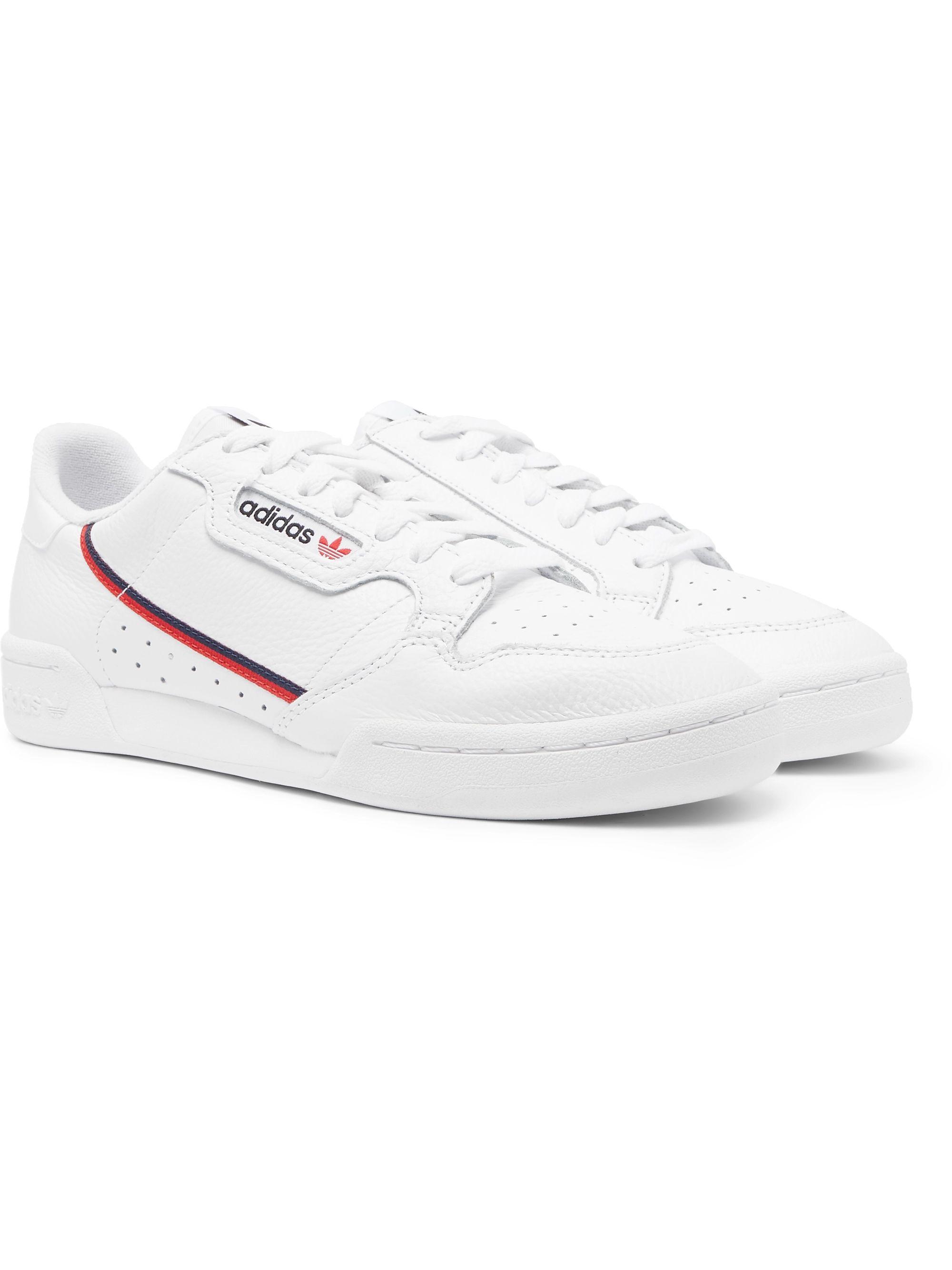 아디다스 Adidas Continental 80 Full-Grain Leather Sneakers,White