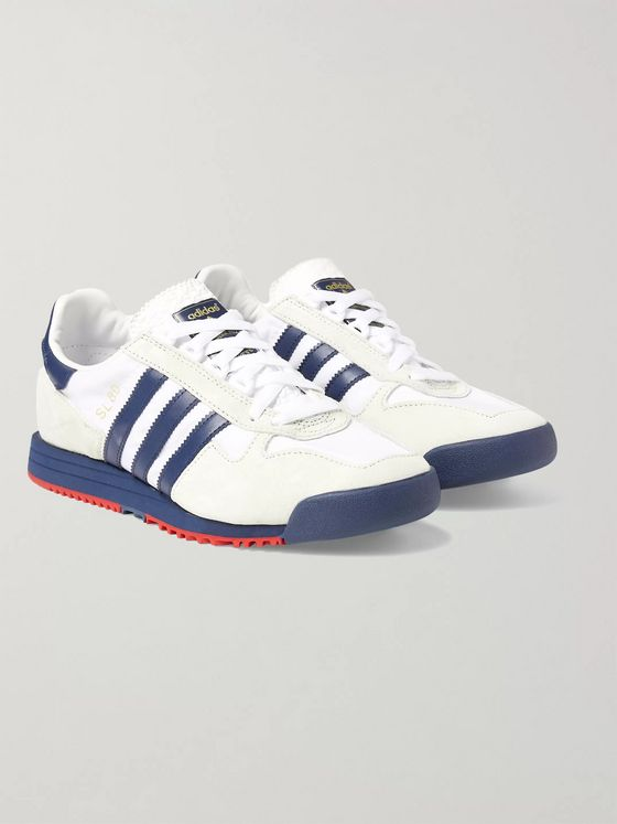 adidas Originals SL 80 Leather-Trimmed Faux Suede and Shell Sneakers