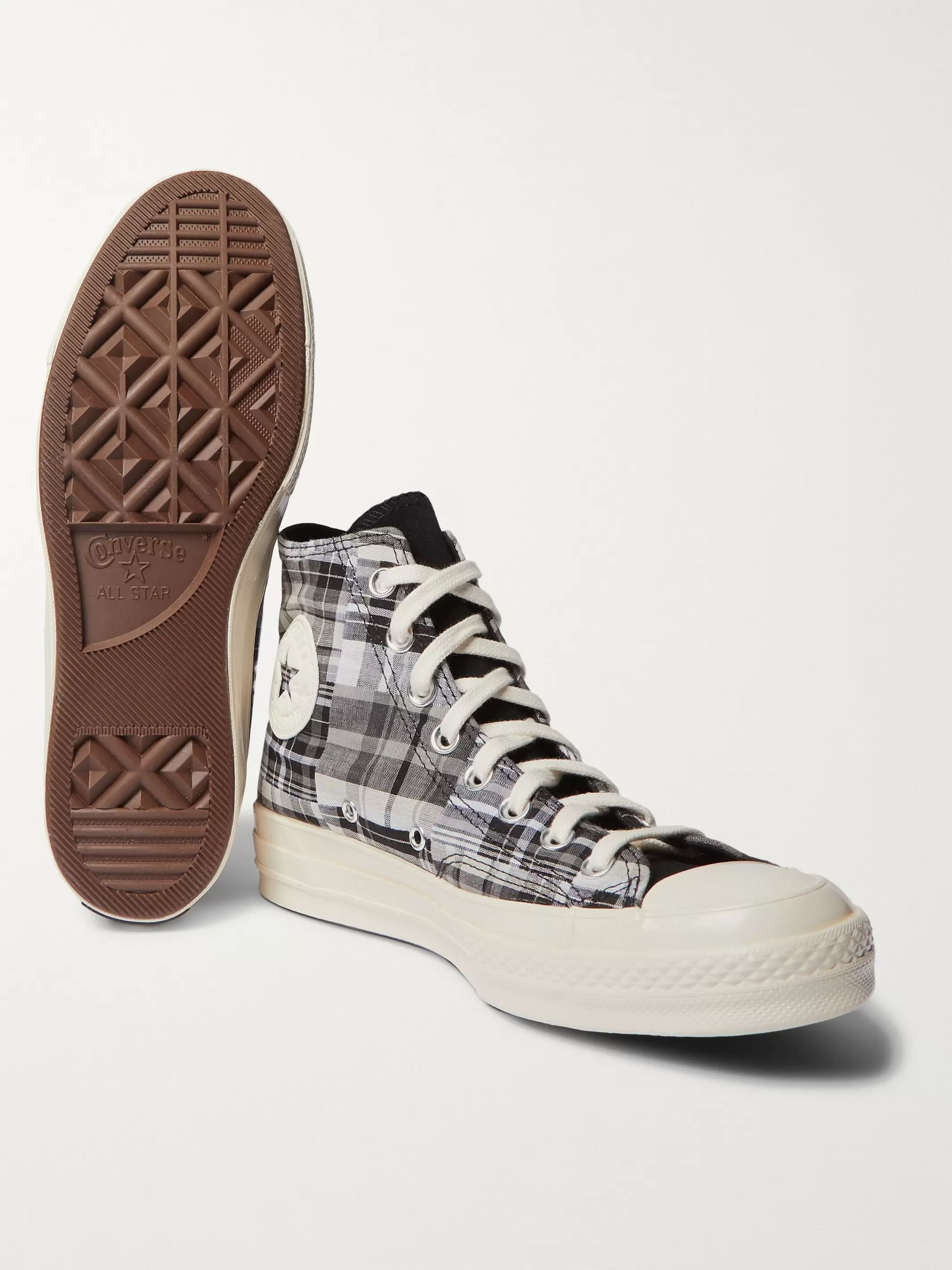 Converse Chuck 70 Twisted Prep Suede-Trimmed Checked Canvas High-Top Sneakers