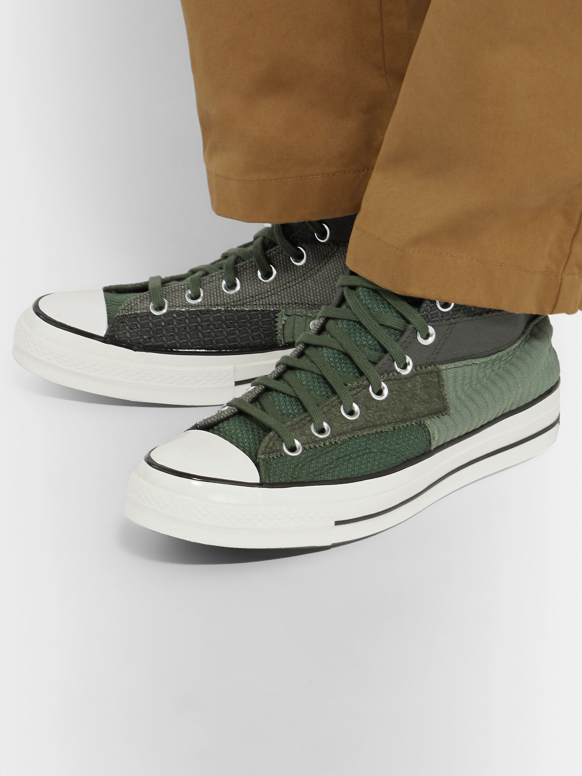 Chuck 70 Patchwork Canvas and Twill High Top Sneakers