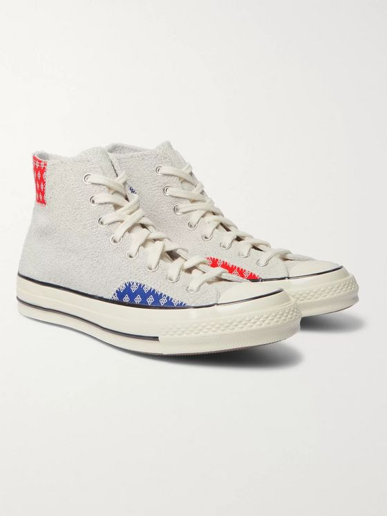 Converse Chuck 70 Twisted Prep Patchwork Canvas and Suede High-Top Sneakers