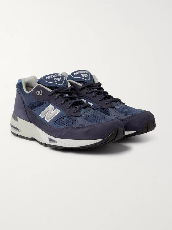 New Balance M991 Leather, Suede and Mesh Sneakers