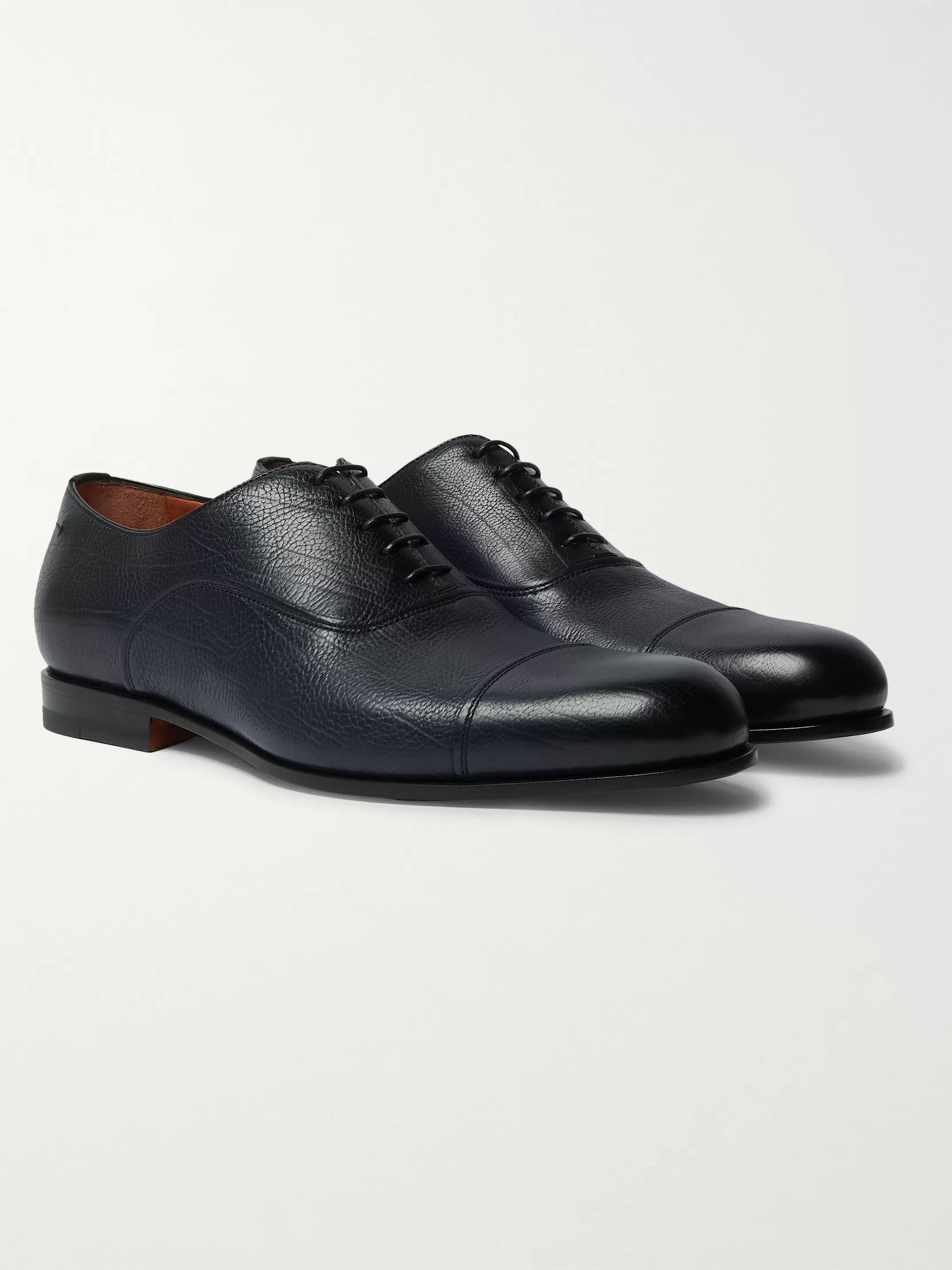 Santoni Cap-Toe Leather Oxford Shoes