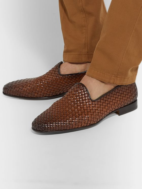 Santoni Woven Burnished-Leather Loafers