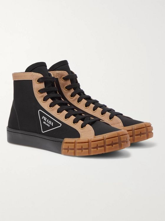 Prada Logo-Print Canvas High-Top Sneakers