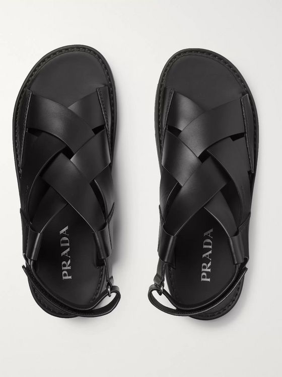 Prada Colour-Block Woven Leather Sandals