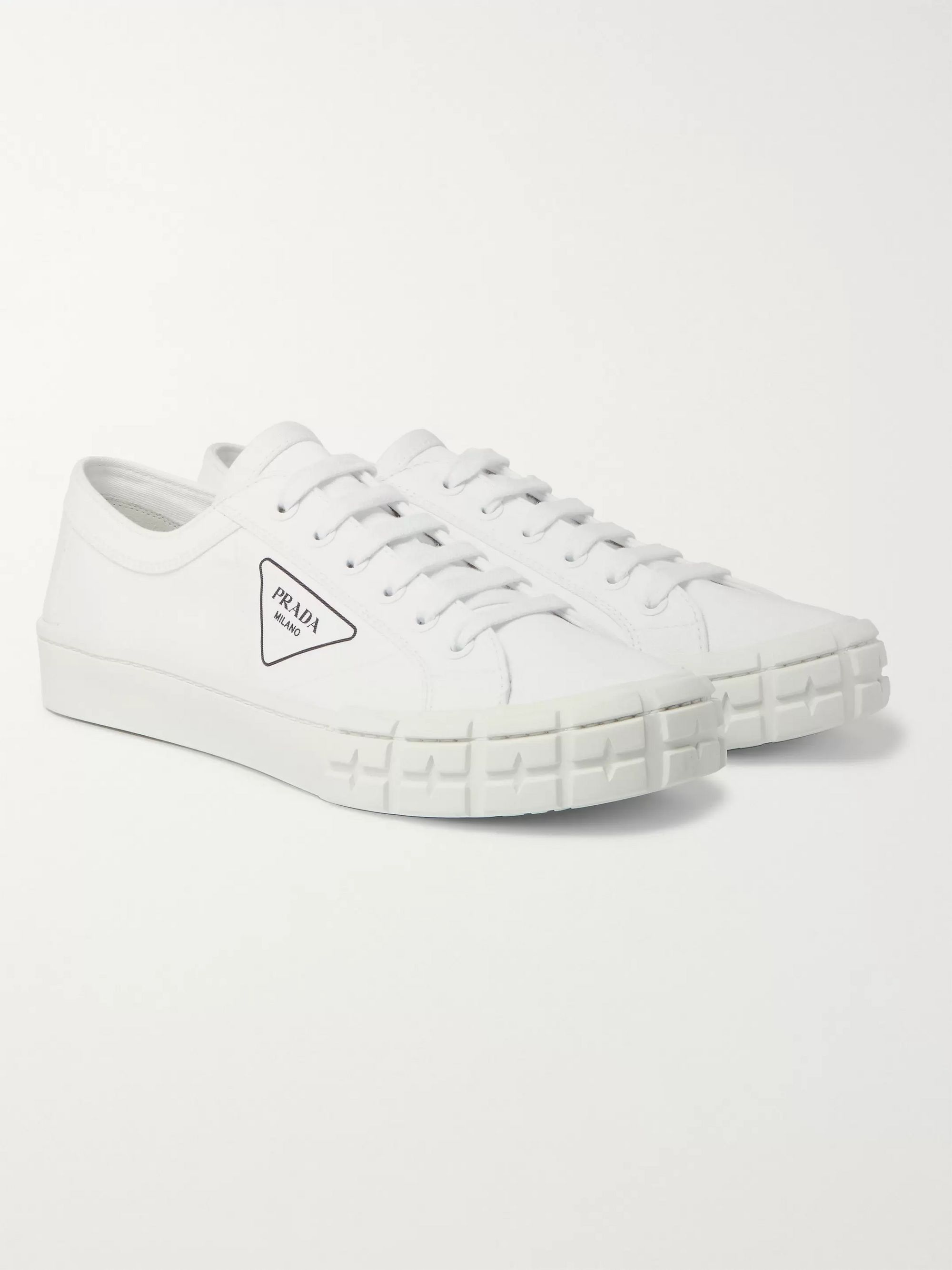 Prada Logo-Print Canvas Sneakers