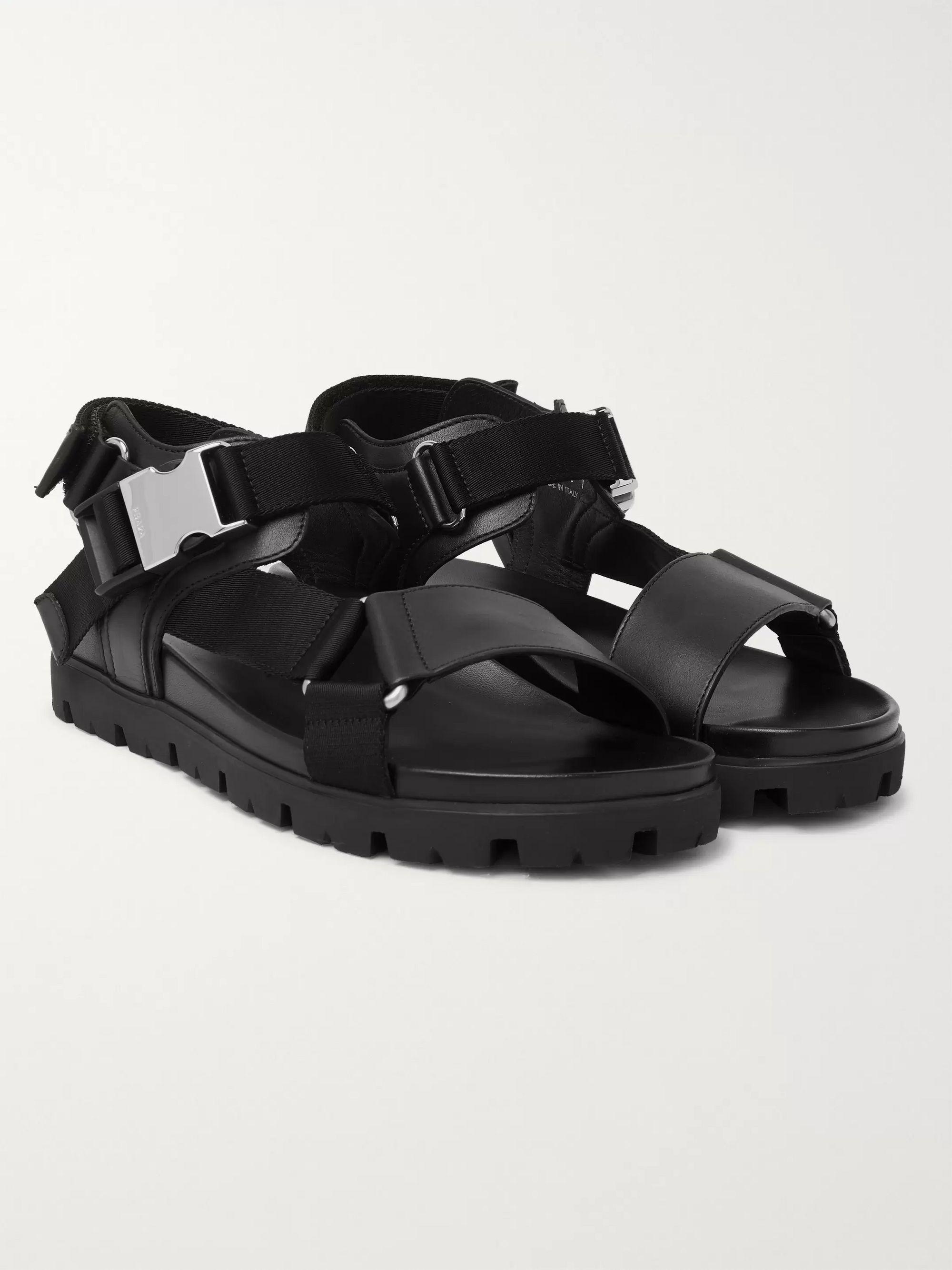 Black Webbing-Trimmed Leather Sandals