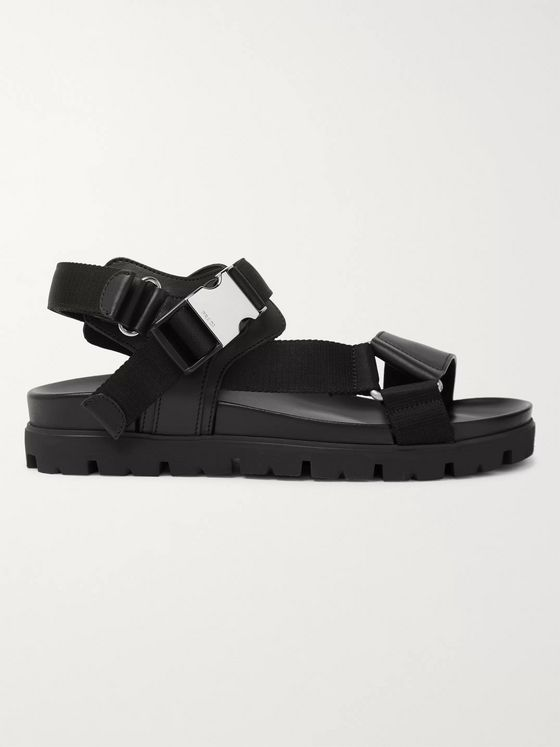 Prada Webbing-Trimmed Leather Sandals