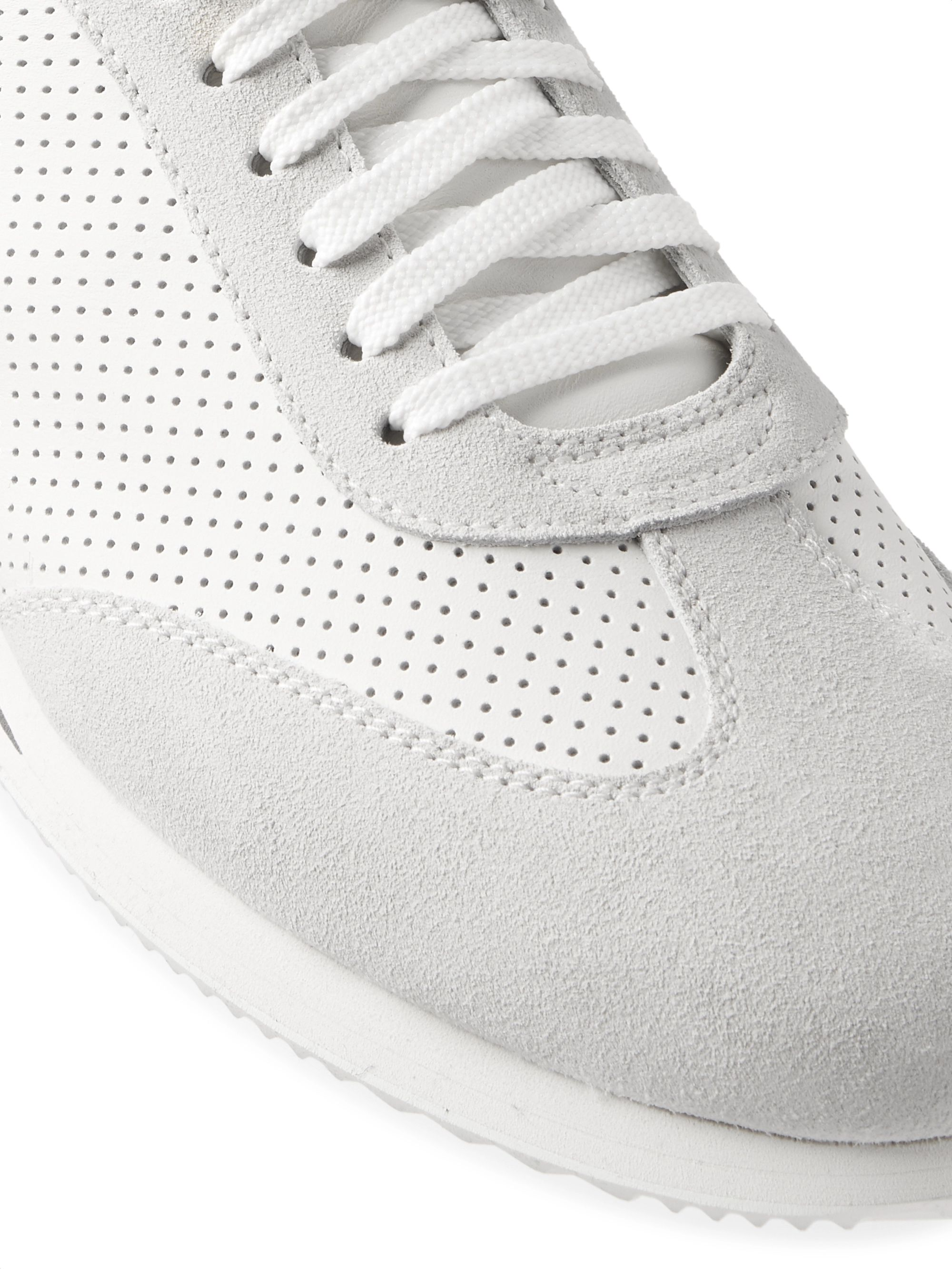 Brunello Cucinelli Suede-Trimmed Leather and Mesh Sneakers