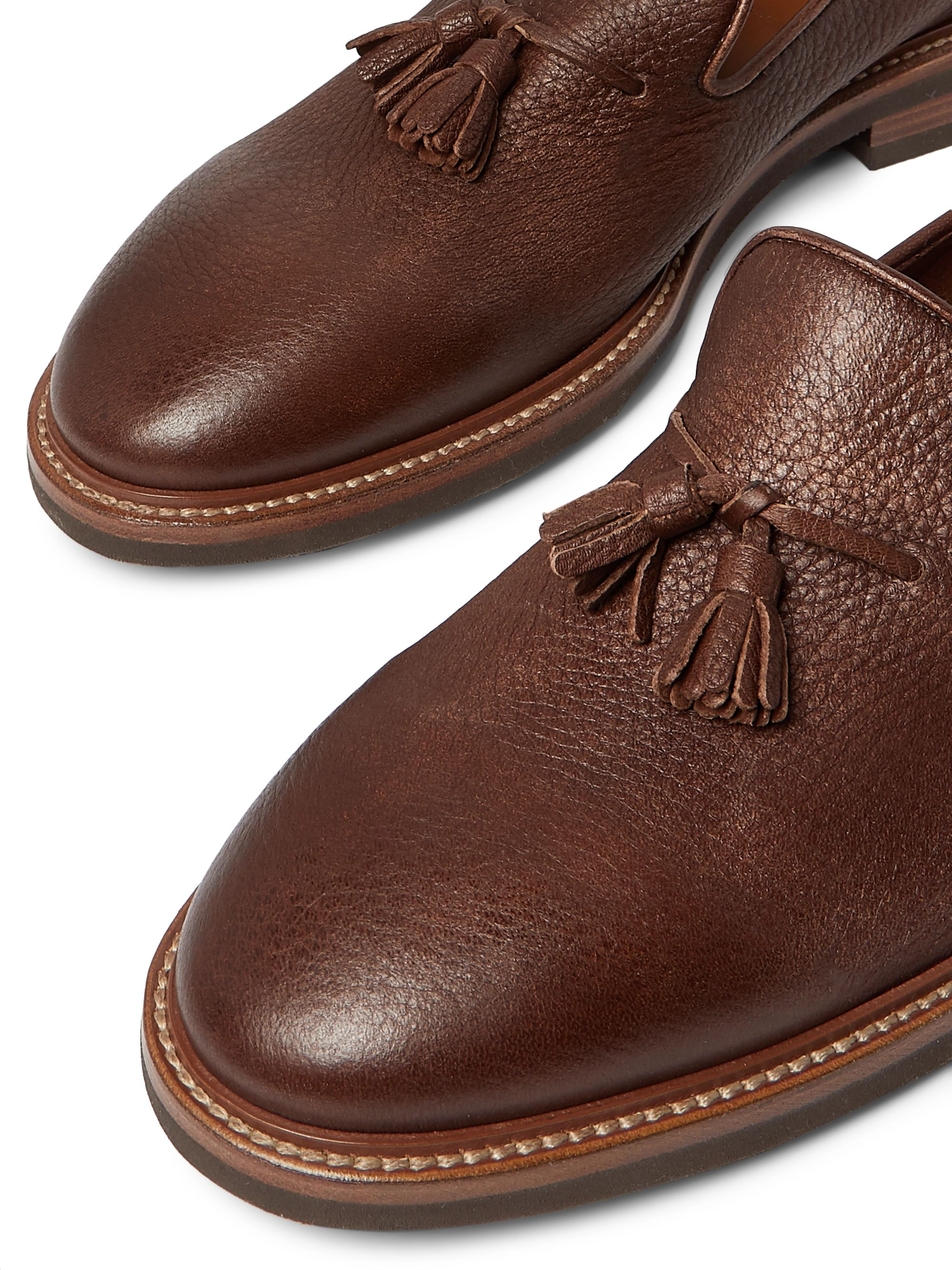 Brunello Cucinelli Full-Grain Leather Tasselled Loafers