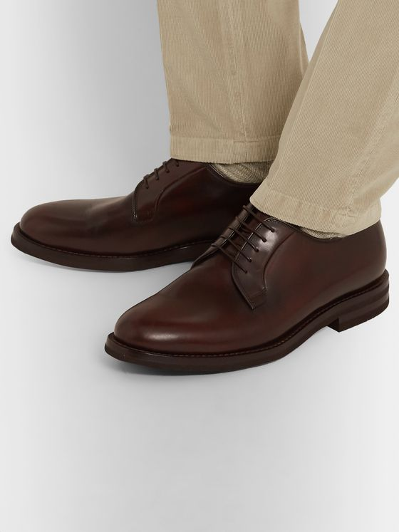 Brunello Cucinelli Polished-Leather Derby Shoes