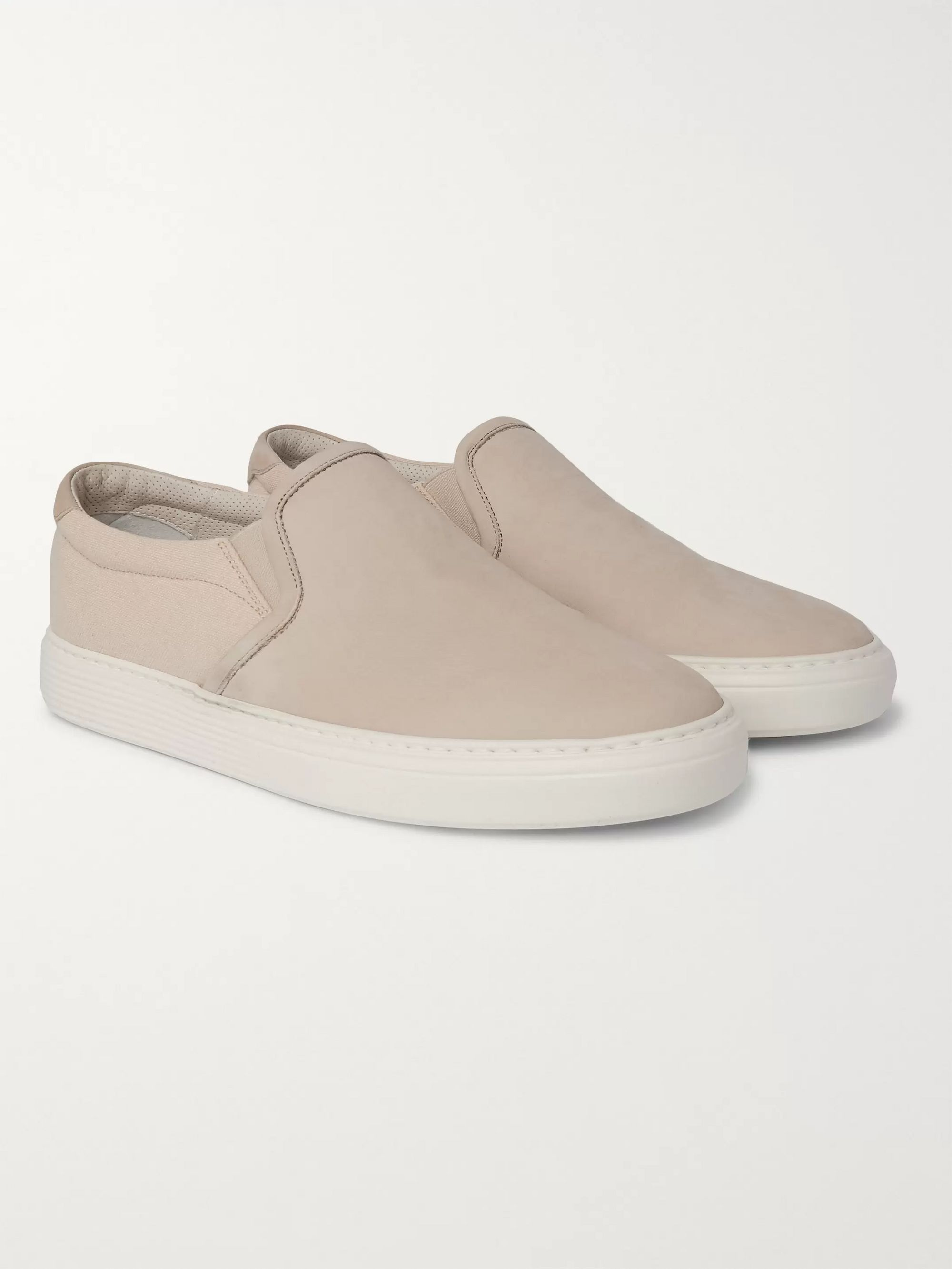 Brunello Cucinelli Nubuck and Canvas Slip-On Sneakers