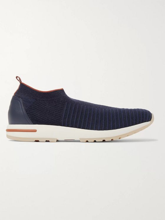 Loro Piana 360 Flexy Walk Leather-Trimmed Knitted Wish Wool Slip-On Sneakers