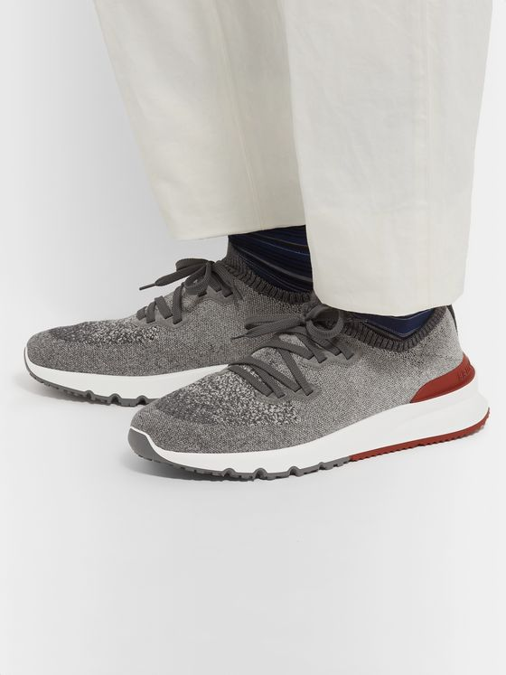 Brunello Cucinelli Suede-Trimmed Stretch-Knit Sneakers
